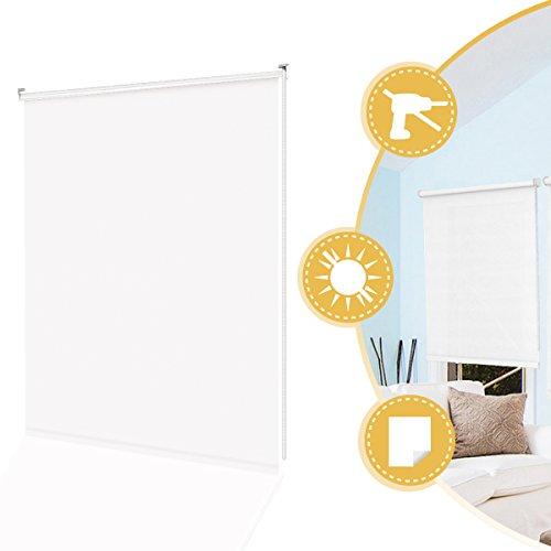 Deswell Klemmrollo Rollos Tageslichtrollo Klemmfix ohne Bohren für Fenster Tür Weiß 80 x 160 cm Seitenzugrollo Wandmontage mit Klemmträger