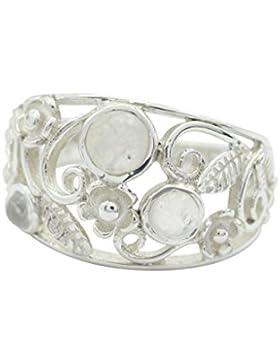 ansprechender Regenbogen Mondstein 925 Sterling Silber weißen Ring suppiler l-1.5 de