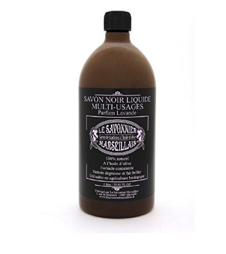 Véritable Savon noir 1 litre Multi-usages liquide à l'huile d'olive aux huiles essentielles parfum lavande 100% Made In France