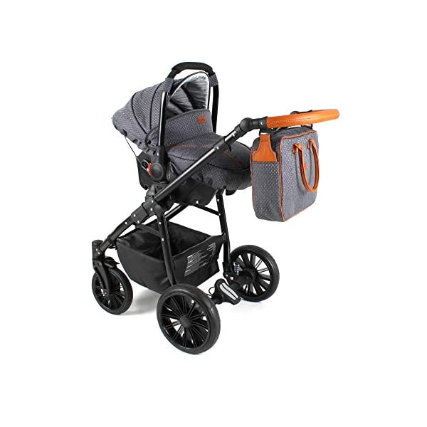 Travel System Stroller Pram Pushchair 2in1 3in1 Set Isofix Fort by SaintBaby Sand for-2 4in1 car seat +Isofix SaintBaby 3in1 , 2in1 or 4in1 selectable with isofix. With 3in1 you get the car seat (baby seat) in addition. With 4in1 you get both the infant carrier with Isofix mount and an Isofix base for your car. Of course, each set includes the infant carrier (classic stroller) and the buggy attachment (sports seat). The free accessories are also included in each set (changing bag, mosquito net and rain hood). Of course the car complies with the EU safety standard EN1888. During the production as well as before shipping, each car is carefully checked, so that you can be sure to have one of the best cars. Saintbaby stands for all-round carefree packages, so you also get a changing bag in the colour of the car, as well as rain and insect protection free of charge. With all the colours of this pram you will find the pram of your dreams. 4