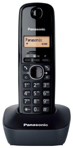 Panasonic KX-TG1611 - Teléfono fijo inalámbrico (LCD, identificador de llamadas, agenda de 50 números, tecla de navegación, alarma, reloj), color negro