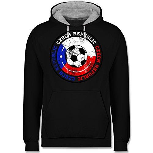 Fußball - Czech Republic Kreis & Fußball Vintage - Kontrast Hoodie Schwarz/Grau Meliert