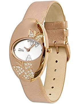 Moog Paris Butterflies Damen Uhr mit Weißem Zifferblatt, Swarovski Elements & Rosegoldenem Armband aus echtem...