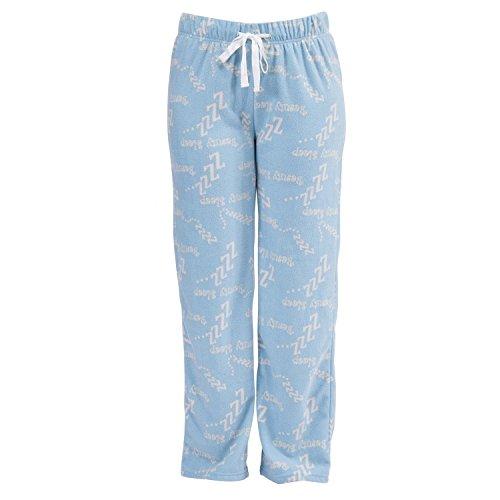 Damen Fleece-Pyjamahose / Fleece-Schlafanzughose mit Wecker- / Beauty-Sleep-Design Pink