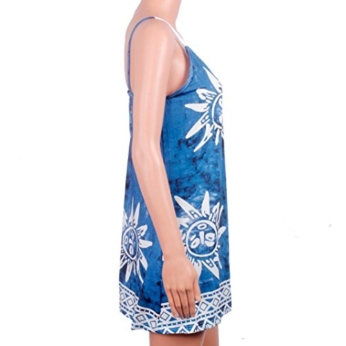 Zolimx Frauen Sling Cocktail Party Short Strand Minikleid Blau