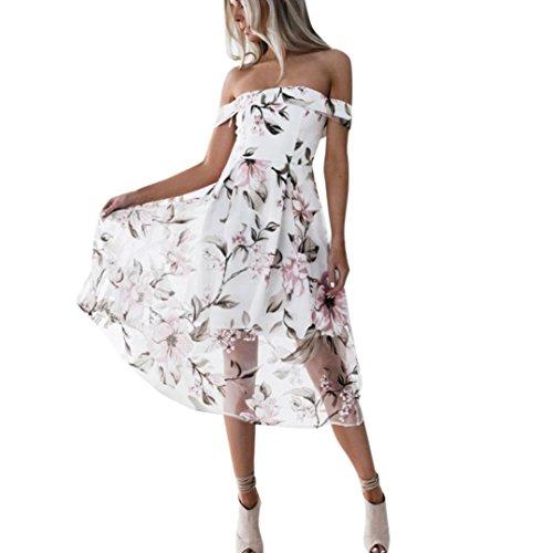 FORH Damen Sexy Schulterfrei Sommerkleider Abendkleid Elegant Boho Blumendruck Strandkleid Kurzes Minikleid Casual Party Sundress Minikleid (Rosa B, L) (Kirsche Roten Kleid)