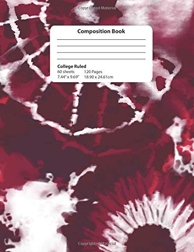 Composition Book: Dark Red and Pink Tie Dyed College Ruled Notebook Shibori Designs