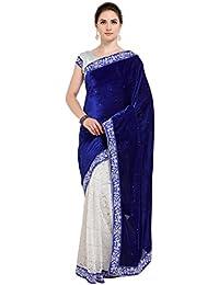 Tagline Women's Velvet Saree With Blouse Piece (Tag10001 ,Blue,Free Size)