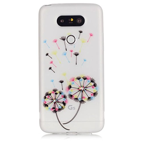 Vandot LG G5 Coque de Protection Etui Transparent Antidérapant Pour LG G5 Etui Protection Dorsale Étui Slim Invisible Housse Cover Case en TPU Gel Silicone Hull Shell-Blanc Light-pissenlit Couleur