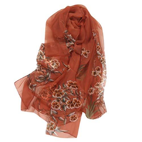 Koojawind sciarpe di scialle di seta con scialle di seta grande stampa floreale di fiori di gelso, sciarpe di donne sciarpa di chiffon di seta con scialle lungo stampa morbida di fiori eleganti