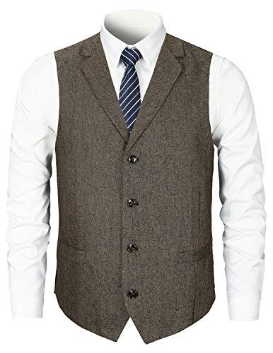 STTLZMC Herren Weste Anzugweste Wolle Tweed Weste Kragenweste 2 Taschen 4 Knöpfe,Braun 2,M