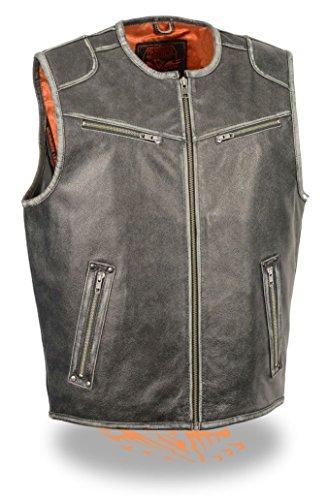 Preisvergleich Produktbild Herren Motorrad-Vintage grau Reißverschluss vorne Butter weiches Leder Weste (XL)