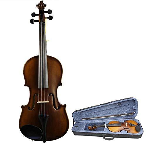 Mattes Finish Akustische Violine aus massivem Holz Fichte Gesicht Bord Handgefertigtes Geigen-Set 4-saitiges Instrument mit hartem Etui Kolophonium für Kinder Erwachsene Studenten Anfänger 4/4, 3/4, 1