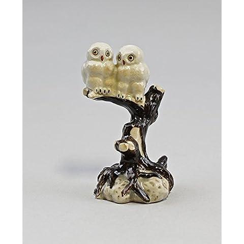 Miniatura de porcelana Figura de nieve Búhos en rama