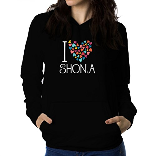Felpe con cappuccio da donna I love Shona colorful hearts