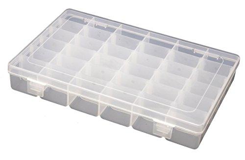 ANSIO 93916 Boîte de Rangement / à Bijoux / à Outils Ajustable à Usages Multiples en Plastique 36 Compartiments - Transparente
