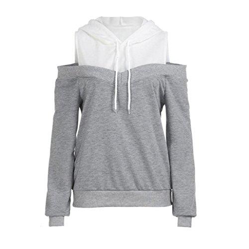 SEWORLD 2018 Damen Mode Sommer Herbst Damen Schulterfrei Langarm Hoodie Sweatshirt mit Kapuze Pullover Tops Bluse(Grau,36 DE/M CN)