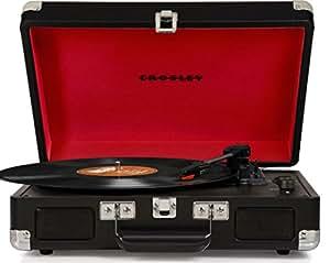 Crosley Cruiser Deluxe Giradischi a Forma di Valigetta a Tre Velocità, Portatile, in Vinile, con Altoparlanti Stereo Incorporati, Nero