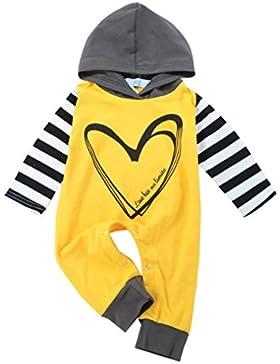 Kobay Neugeborenen Kinder Baby Jungen Herz Brief Streifen Hoodie Strampler Outfits Kleidung