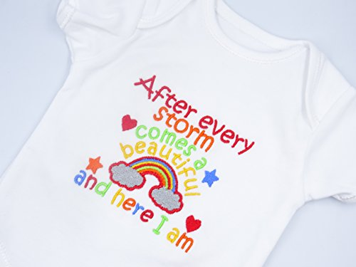 Personalised Embroidered Baby Vest Bodysuit - RAINBOW BABY - AFTER EVERY STORM COMES A BEAUTIFUL RAINBOW AND HERE I AM - Any Colours If Required Blues Pinks Boys Girls