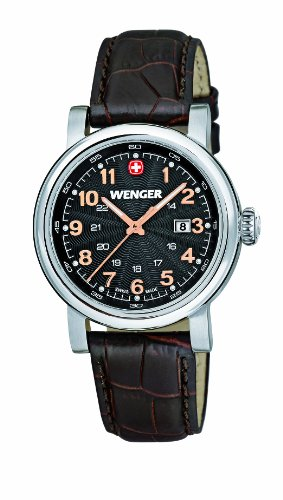 Wenger Urban Classic Women's Quartz Watch with Black Dial Analogue Display and Brown stainless steel Strap 011021104