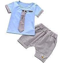 BYSTE bambino Ragazzo Carino piccolo gentiluomo cravatta Manica corta  Camicie Pullover Felpa Maglietta Neonato Estate T 31789712d4f