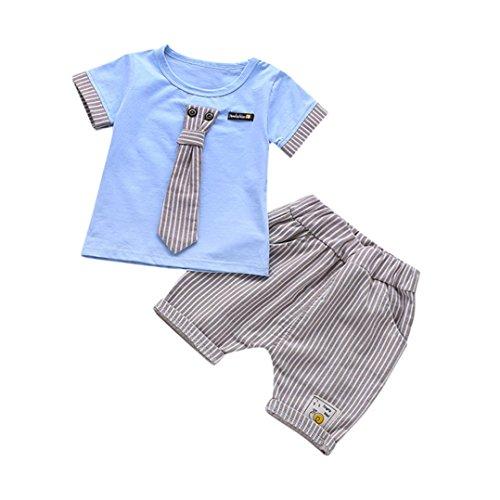 Byste bambino ragazzo carino piccolo gentiluomo cravatta manica corta camicie pullover felpa maglietta neonato estate t-shirt top+ bambini pantaloni corti pantaloncini 2pcs (blu banda, 18 mesi)