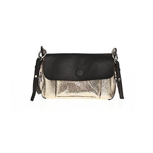 Handtasche mit Klappe, Magnetverschluss und verstellbarem Riemen,NEGRO,UNICA (Klappe Verstellbare)