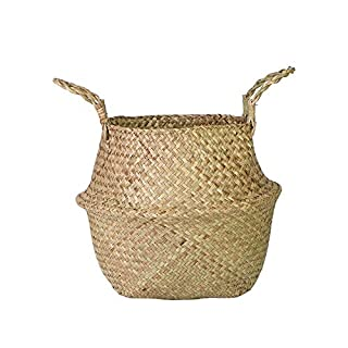 Sobotoo Seagrass Basket, Home Storage Organisation,hand-woven Foldable Plant Flower Pot Toy Storage Basket Wovening Laundry Basket With Handle Handmade, Lightweight, Foldable (XL)