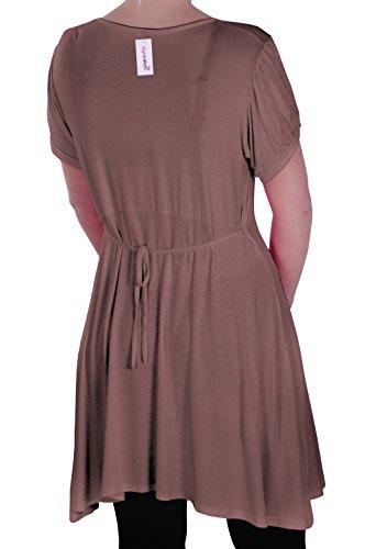 EyeCatch - Tunique manches courtes col en V - Sierra - Femme - Grandes Tailles Moka