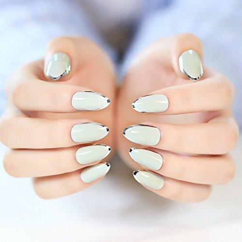 YUNAI Hellgrau mit Silber gefälschten Nägeln Falsche Nägel Fingernägel Nagelspitzen Nagelentwurf
