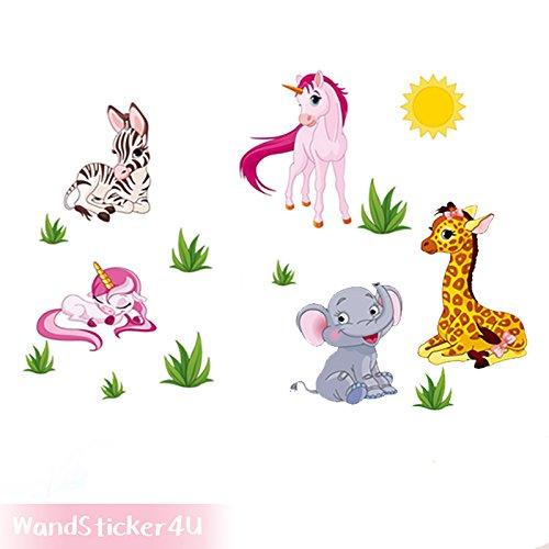 wandsticker4u-wandaufkleber-dschungeltiere-und-einhorner-effektbild-154x53-cm-einhorn-giraffe-elefan