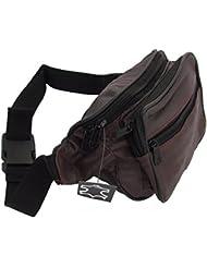 flevado - Riñonera (piel auténtica, múltiples bolsillos), color marrón