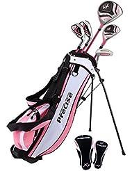 Precise X7 Junior – Juego completo de palos de golf para niños, 3 grupos de edad tamaños disponibles – niños & niñas – Mano Derecha y Mano Izquierda., Pink Ages 9-12