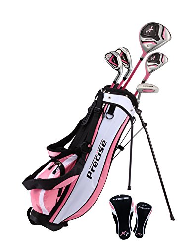 Precise X7 Junior Complete Golf Club Set for Children Kids - 3 Age Groups Sizes Available - Boys & Girls! (Pink - Ages 9-12 - Right Hand)