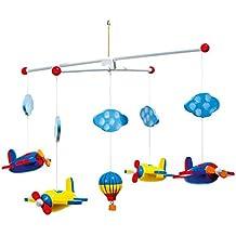 Mobile Luftfahrt aus Holz, bunt lackierte Flugzeuge, Wölkchen und ein Heißluftballon sorgen von Geburt an für Spaß, Ablenkung und Entspannung