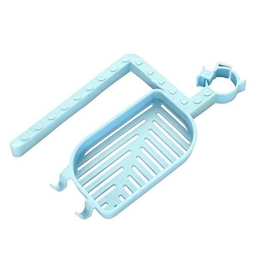 XIAOYUTOU Hook Up 1 Stück Trockentuch Veranstalter Schwamm Bad Küchenarmatur Clip Spültuch Clip Regal Ablauf Waschbecken Hängen Lagerregal Lagerhalter, blau (Unter Waschbecken Veranstalter)