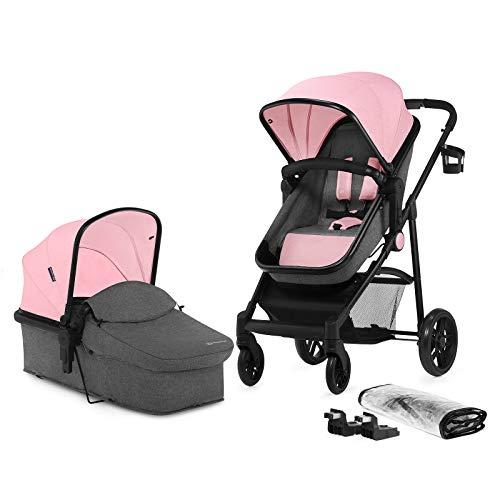 Kinderkraft JULI 2 in 1 Kinderwagen Kombikinderwagen Puppenwagen mit Buggy Babyschale Zubehör, rosa