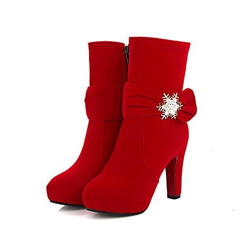 VogueZone009 Damen Reißverschluss Hoher Absatz Mattglasbirne Niedrig-Spitze Stiefel Rot