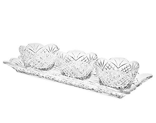 Godinger Silver Art Dublin 4-piece Non-leaded Crystal Relish Server Serving Tray Set by Godinger Relish-server