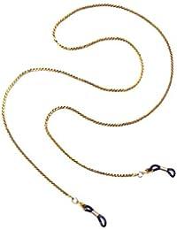 Gold-Metall-Sonnenbrille-Brillenschauspiele Gläser Kettenhalter