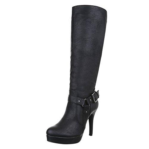 Damen Schuhe, TOOVAST, STIEFEL PLATEAU HIGH HEELS Schwarz