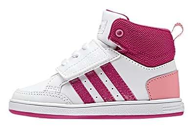 adidas Unisex-Baby Vlneo Hoops Cmf Mid Inf Sneakers, Blanco / Rosa / Fucsia (Ftwbla / Rosfue / Rosvis), 20 EU
