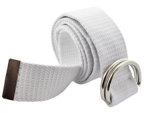 BONAMART Unisex Damen und Herren Doppel-Ring Einfarbig Stricken Canvas Web Gürtel Belt -