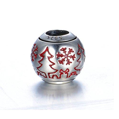 GW Sterling Silber Weihnachtsbaum Charms mit Schnee rot Emaille Charms für europäischen Style Charm Armband für (2017 Kostüme Beliebtes Mädchen)