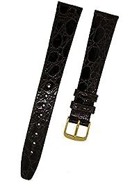Orig. FORTIS marrón de cocodrilo único pin hebilla piel correa para reloj 16mm nueva 8810