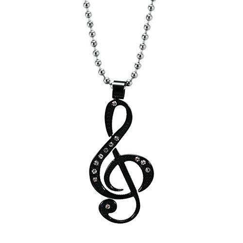 AnazoZ Mode Bijoux Pendentif en acier inoxydable CZ Note de musique Pendentif symbole Collier pour femme-choisissez Couleur noir