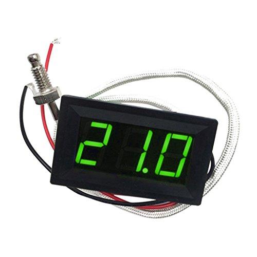 FITYLE -30-800 ℃ Grad Celsius Thermometer Digital-LED Auto-Temperatur-Messinstrument -Monitor-Anzeige Tester Temp Panel Meter Spur 12V ± 2V Angetrieben, Temperaturgenauigkeit: ± 0,3 ℃ Grad Celsius - Grün