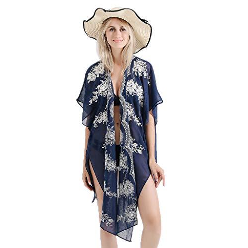 Watermk Frauen-Sommer-Halbarm-Badeanzug vertuschen überbackene mit Blumen bestickte häkeln Kimono-Cardigan asymmetrische, seitlich aufgeteilte halb Schiere Jacquardschal, Marine -