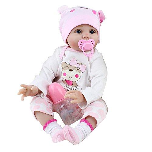 LIGEsayTOY Reborn Baby Puppe, Realistische Lebensechtes Babypuppun Neugeborene Puppe Spielkamerad Silikon Spielzeug Baby Doll Kinder Mädchen Junge Playmate Simulation Geburtstags Geschenk Weichkörper